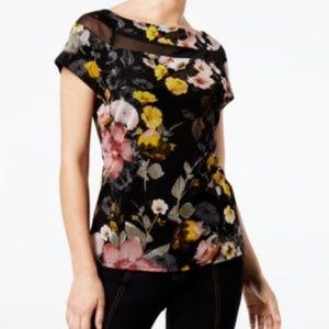 INC International Concepts Top Floral Print Mesh